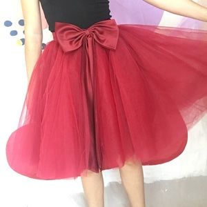 Poofy Red Burgundy Bow Tulle Ballerina Tutu Skirt